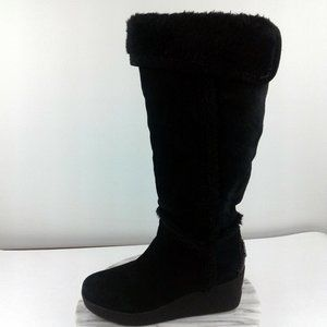 BCBG MAXAZRIA Athens Black Suede Wedge Tall Boots